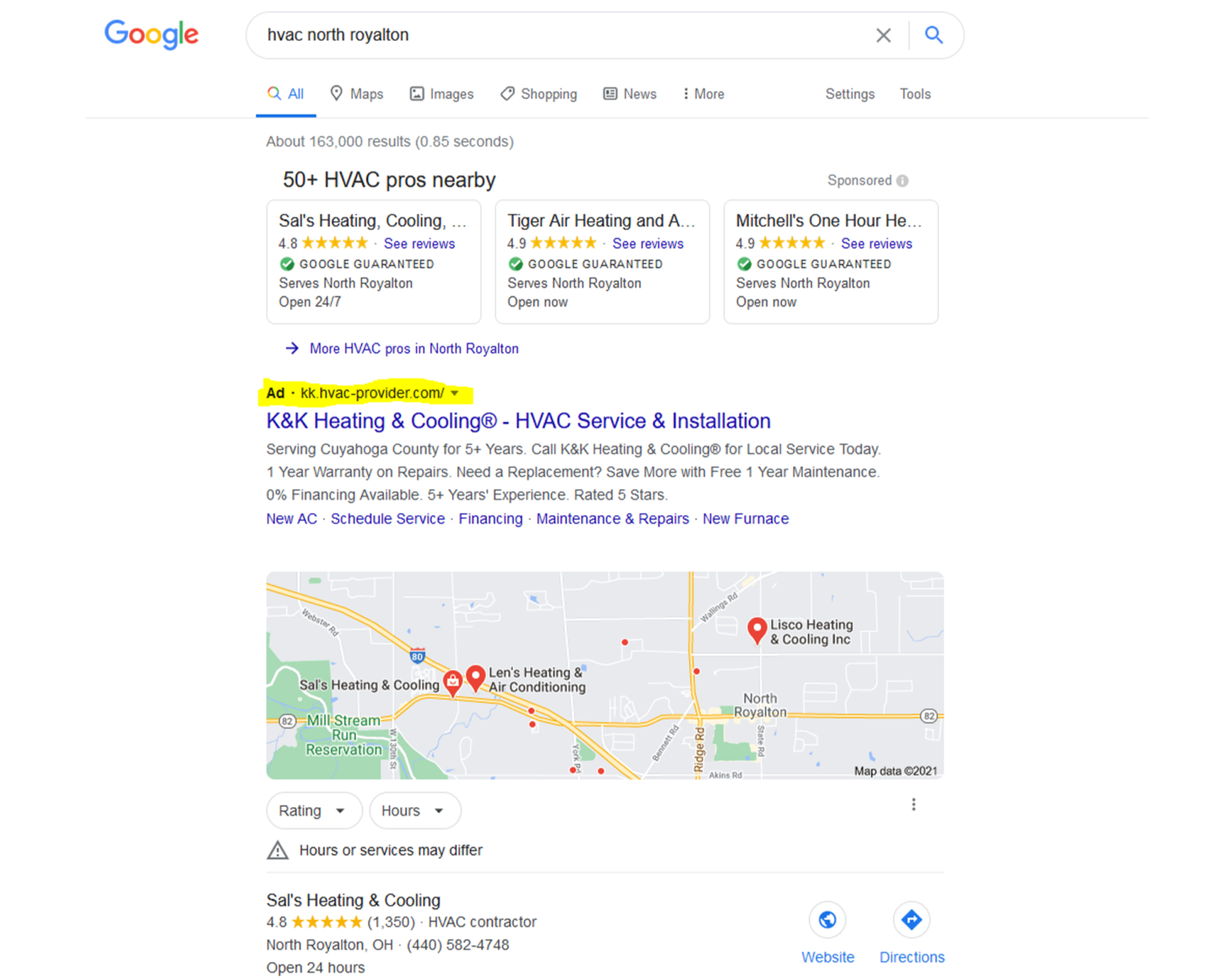 AdWords Google Search Results